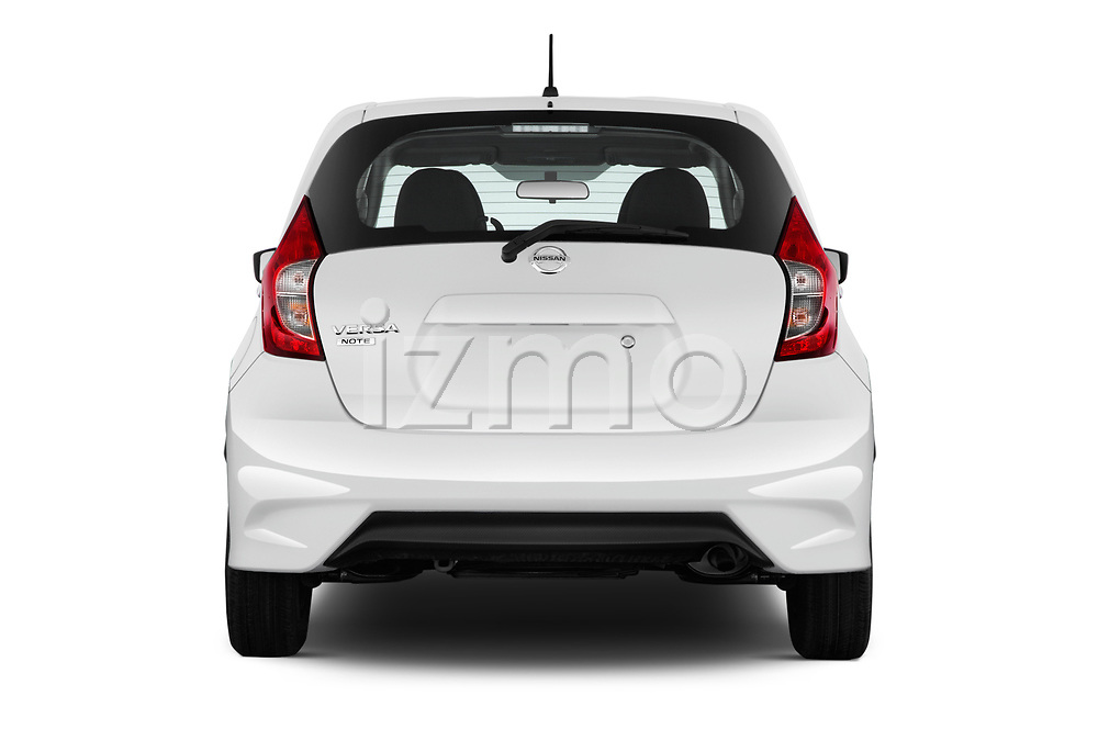 Straight rear view of 2017 Nissan Versa-Note S-Plus 5 Door Hatchback Rear View  stock images