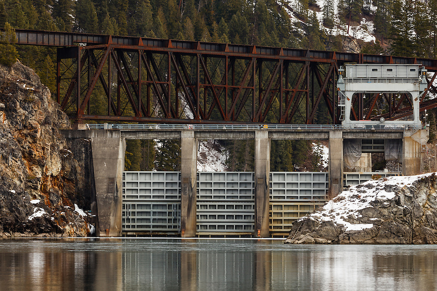 Concrete and steel come together at the outlet of a lake in British Columbia, Canada.