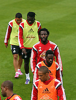 Pictured BACK to FRONT: Jefferson Montero, Bafetimbi Gomis, Wilfried Bony, Nathan Dyer and Wayne Routledge. Thursday 14 August 2014<br /> Re: Swansea City FC training at Fairwood, south Wales, ahead of their first game of the Premier League season against Manchester United this coming Saturday.