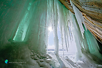 Grand Island Ice Cave blue ice sun star