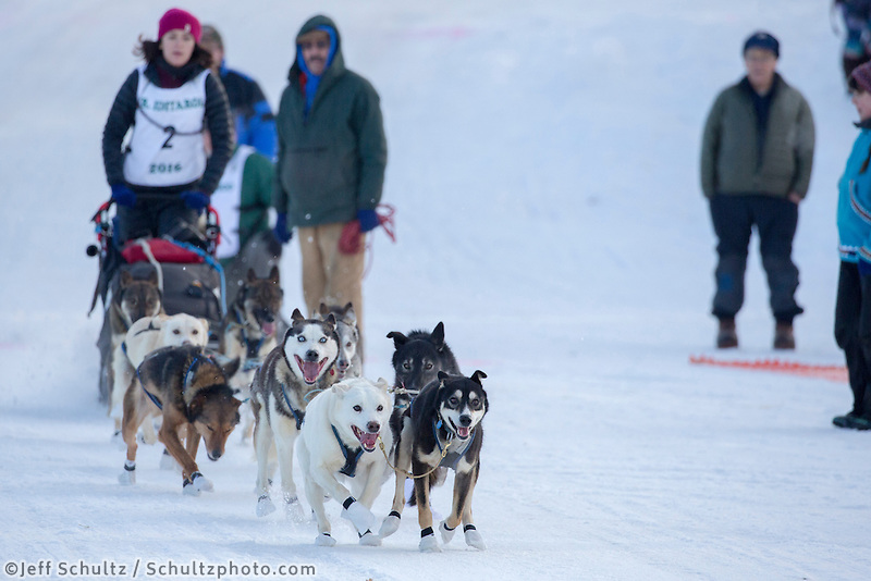 Bailey Schaeffer At the start of the 2016 Junior Iditarod Sled Dog Race on Willow Lake  in Willow, AK February 27, 2016