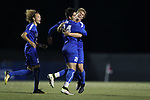 DURHAM, NC - NOVEMBER 25: Duke's Brian White (24) celebrates his goal with Cody Brinkman (right) and Brandon Williamson (left). The Duke University Blue Devils hosted the Fordham University Rams on November 25, 2017 at Koskinen Stadium in Durham, NC in an NCAA Division I Men's Soccer Tournament Third Round game. Fordham advanced 8-7 on penalty kicks after the game ended in a 2-2 tie after overtime.