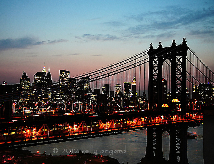 Manhattan Bridge & NYC skyline at dusk...taken from DUMBO, Brooklyn