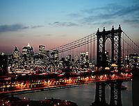 Manhattan Bridge & NYC skyline at dusk...taken from DUMBO, Brooklyn