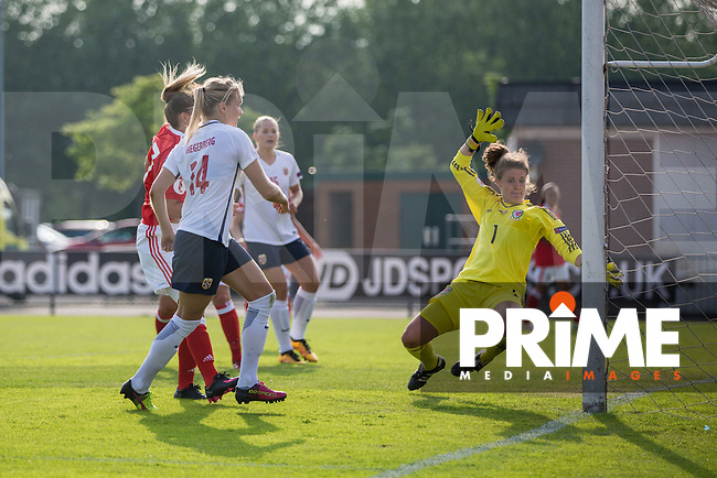 Ada Hegerberg of Norway scores her side's first goal during the UEFA Women's Euro 2017 Qualifier match between Wales Women and Norway Women at Newport Stadium, Spytty Park, Wales on 7 June 2016. Photo by Mark  Hawkins / PRiME Media Images.