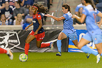 Chicago, IL - Saturday Sept. 24, 2016: Crystal Dunn, Taylor Comeau during a regular season National Women's Soccer League (NWSL) match between the Chicago Red Stars and the Washington Spirit at Toyota Park.