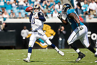 October 18, 2009:    St. Louis Rams quarterback Marc Bulger (10) passes during first half action between the NFC West St. Louis Rams and AFC South Jacksonville Jaguars at Jacksonville Municipal Stadium in Jacksonville, Florida............