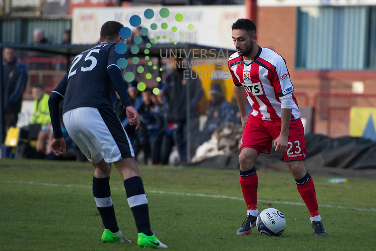 Rory McKeown takes on Lewis Toshney during the Dundee v Kilmarnock match at Dens Park.  Picture: Fraser Stephen/Universal News And Sport (Scotland).  Sunday 27 January 2013.