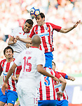 Diego Roberto Godin Leal of Atletico de Madrid battles for the ball with Gabriel Mercado of Sevilla FC during their La Liga match between Atletico de Madrid and Sevilla FC at the Estadio Vicente Calderon on 19 March 2017 in Madrid, Spain. Photo by Diego Gonzalez Souto / Power Sport Images