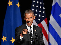 Pictured: US President Barack Obama gives a speech at the Stavros Niarchos Foundation in Athens, Greece. Wednesday 16 November 2016<br /> Re: US President Barack Obama state visit to Greece
