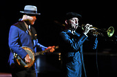 CORAL SPRINGS FL - OCTOBER 19: Scotty Morris and Mitchell Cooper of Big Bad Voodoo Daddy perform at Coral Springs Center for the Arts on October 19, 2017 in Coral Springs, Florida. Photo by Larry Marano © 2017