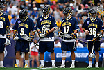 FOXBORO, MA - MAY 28: Members of the Merrimack Warriors during a game against the Limestone Saints during the Division II Men's Lacrosse Championship held at Gillette Stadium on May 28, 2017 in Foxboro, Massachusetts. (Photo by Larry French/NCAA Photos via Getty Images)