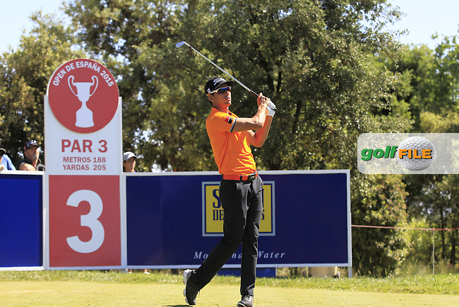 Rafa Cabrera-Bello (ESP) on the 3rd tee during Round 2 of the Open de Espana  in Club de Golf el Prat, Barcelona on Friday 15th May 2015.<br /> Picture:  Thos Caffrey / www.golffile.ie