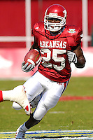 Florida International University Golden Panthers versus the University of Arkansas Razorbacks at Donald W. Reynolds Razorback Stadium, Fayetteville, Arkansas on Saturday, October 27, 2007.  The Razorbacks defeated the Golden Panthers, 58-10...Arkansas tailback Felix Jones (25) rushes in the first quarter.  Jones recorded a total of 90 yards rushing and a touchdown against FIU.