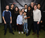 Parker Ramsay, Paul Wesley, Mia Vallet, Avey Noble, Peyton Lusk, Shiv Ajay, Robert Fairchild, Krysty Swann, Rocco Sisto, Parker Ramsay and Steven Lin attend the Off-Broadway Opening Night party for 'Mary Shelley's Frankenstein' at the Green Room on December 27, 2017 in New York City.
