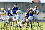 Jack Goulding Kerry in action against David King and Cillian Kiely Offaly in the National Hurling League in Austin Stack Park, Tralee on Sunday.