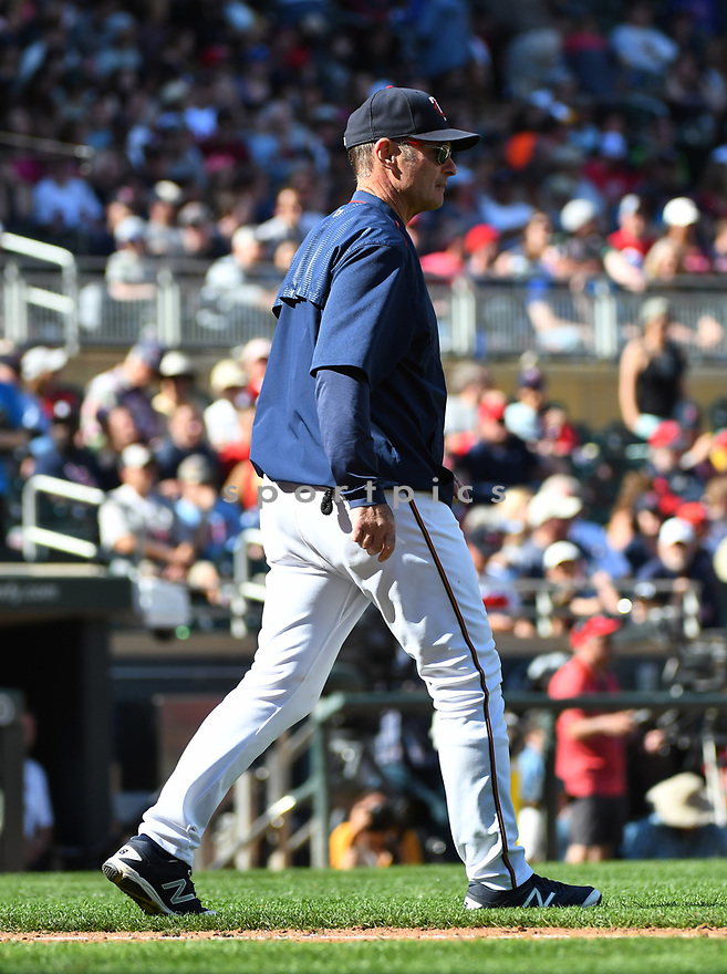 MINNEAPOLIS MN - May 7, 2017: Paul Molitor #4 of the Minnesota Twins during a game against the Boston Red Sox on May 7, 2017 at Target Field in Minneapolis, MN. The Red Sox beat the Twins 17-6.(David Durochik/ SportPics)
