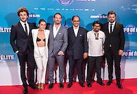 "Joaquin Mazon, Maria Leon, Miki Esparbe, Jordi Sanchez, Adoni Agirregomezkorta and Juan Carlos Aduviri during the premiere of ""Cuerpo de Elite"" at Capitol cinema. Madrid. August 25, 2016. (ALTERPHOTOS/Rodrigo Jimenez) /NORTEPHOTO"