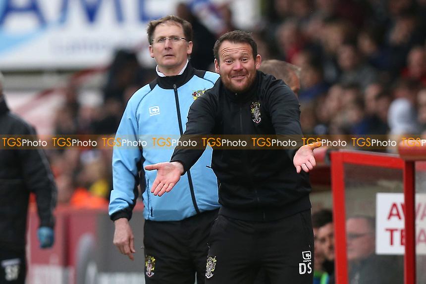 Stevenage manager Darren Sarll during Stevenage vs Morecambe, Sky Bet EFL League 2 Football at the Lamex Stadium on 14th April 2017