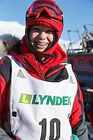 2015 Junior Iditarod musher Joan Klejka at the staging area along the Denali Highway. <br /> <br /> <br /> (C) Jeff Schultz/SchultzPhoto.com - ALL RIGHTS RESERVED<br />  DUPLICATION  PROHIBITED  WITHOUT  PERMISSION