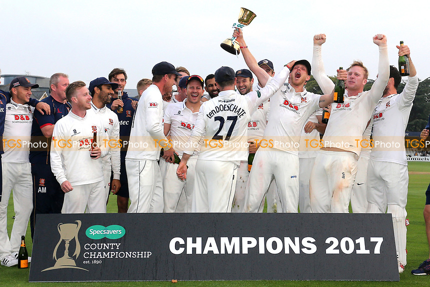 Essex players celebrate with the County Championship Trophy during Essex CCC vs Yorkshire CCC, Specsavers County Championship Division 1 Cricket at The Cloudfm County Ground on 27th September 2017