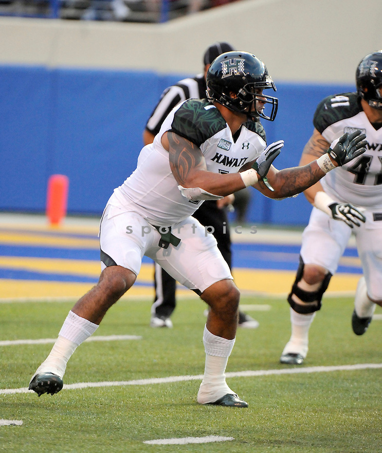 AARON BROWN of the Hawaii Warriors, in action during Hawaii's game against the San Jose State Spartans on October 14, 2011 at Spartan Stadium in San Jose, California. San Jose beat Hawaii 28-27.