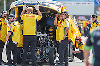 Jun 6, 2016; Epping , NH, USA; NHRA funny car driver Del Worsham with crew members during the New England Nationals at New England Dragway. Mandatory Credit: Mark J. Rebilas-USA TODAY Sports