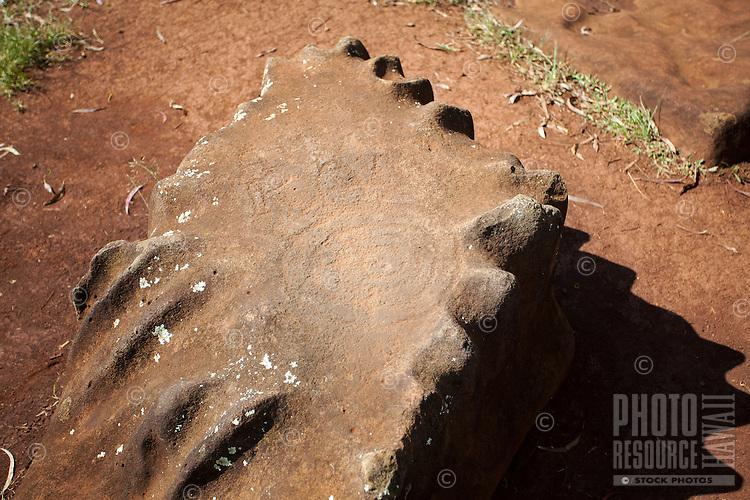 Kukaniloko Birthstone with  petroglyph in Wahiawa, O'ahu
