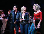Olivia Newton John, Derek Keeling, Ashley Spencer during Olivia Newton-John is headed back to Rydell High to promote Breast Cancer Awareness after the Curtain Call for GREASE at the Brooks Atkinsoon Yheatre in New York City. <br />