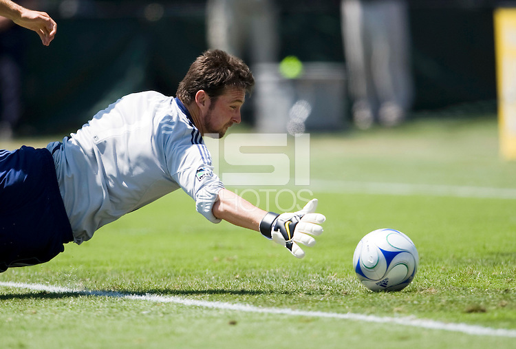 August 2nd, 2009: San Jose Earthquakes Joe Cannon dives to save the ball during 2nd half of an MLS match at Buck Shaw Stadium in Santa Clara, California. San Jose Earthquakes defeated Seattle Sounders 4 - 0