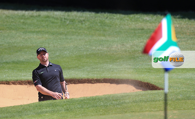 Craig Lee (SCO) in action from the bunker on the last during Round Two of the 2016 BMW SA Open hosted by City of Ekurhuleni, played at the Glendower Golf Club, Gauteng, Johannesburg, South Africa.  08/01/2016. Picture: Golffile | David Lloyd<br /> <br /> All photos usage must carry mandatory copyright credit (&copy; Golffile | David Lloyd)