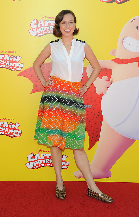 Kristen Schaal arriving at the Los Angeles premiere of Captain Underpants, held at the Regency Village Theater in Westwood California on May 21, 2017