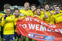 Oxford United players celebrate reaching the Wembley final during the Johnstone's Paint Trophy Southern Final 2nd Leg match between Oxford United and Millwall at the Kassam Stadium, Oxford, England on 2 February 2016. Photo by Andy Rowland / PRiME Media Images.