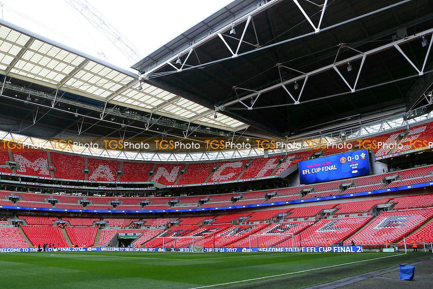 General view of inside Wembley Stadium showing the Manchester United end prior to the fans entering the ground during Manchester United vs Southampton, EFL Cup Final Football at Wembley Stadium on 26th February 2017