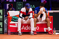Le joueur de tennis fran&ccedil;ais Jo-Wilfried Tsonga oppos&eacute; au joueur Croate Marin Cilic lors de la  Finale de la Coupe Davis France vs Croatie, au Stade Pierre Mauroy &agrave; Villeneuve d'Ascq . Match gagn&eacute; par l'&eacute;quipe de Croatie.<br /> France, Villeneuve d'Ascq , 23 novembre 2018.<br /> French tennis player Jo-Wilfried Tsonga vs Croatian tennis player Marin Cilic during the final of the Davis Cup, at the Pierre Mauroy stadium in Villeneuve d'Ascq .<br /> Match won by Croatian team.<br /> France, Villeneuve d'Ascq , 23 November 2018<br /> Pic : Yannick Noah &amp; Jo-Wilfried Tsonga