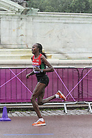 LONDON - AUGUST 05: Priscah Jeptoo wins Silver for Kenya in the Women's Olympic Marathon, Buckingham Palace, London, UK. August 05, 2012. (Photo by Richard Goldschmidt) /NortePhoto.com<br />