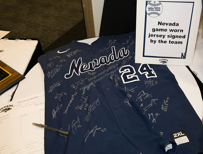 Silent auction items at the 35th Annual Bobby Dolan Baseball Dinner in the Reno Ballroom on Thursday, January 17, 2019.