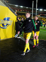 Referee Angus Gardner walks in before the Super Rugby semifinal match between the Hurricanes and Chiefs at Westpac Stadium, Wellington, New Zealand on Saturday, 30 July 2016. Photo: Dave Lintott / lintottphoto.co.nz