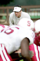 Tom Quinn during practices on April 8, 2002 at the practice field at Stanford, CA.<br />