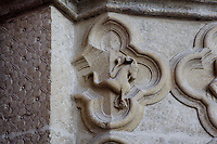 Capricorn, detail of the signs of the Zodiac, Saint Firmin's portal, Amiens Cathedral, 13th century, Amiens, Somme, Picardie, France. Picture by Manuel Cohen