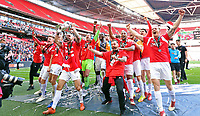 Salford City  team celebrates with the trophy in front of their fans during AFC Fylde vs Salford City, Vanarama National League Play-Off Final Football at Wembley Stadium on 11th May 2019