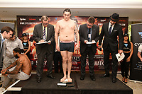 Robin Dupre on the scales during a Cyclone Promotions Weigh-In at the Grosvenor House Hotel on 6th October 2017
