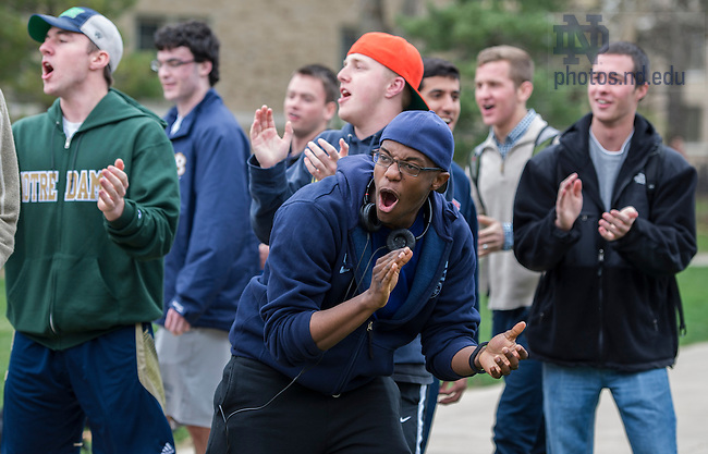 Apr 28, 2014; Knott Hall residenec prepare to compete against Siegfried Hall in the Residence Hall tug of war challenges on the North Quad as part of Notre Dame Day. Knott Hall won the competition. Photo by Barbara Johnston/University of Notre Dame