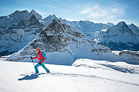 Ski touring on the Wildgärst above Grindelwald, Switzerland with views of the Eiger and Wetterhorn