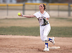 Western Nevada College Wildcats' Makaylee Jauss turns a double play against College of Southern Idaho at Edmonds Sports Complex, in Carson City, Nev., on Friday, Feb. 27, 2015. CSI won the opener 11-2.<br /> Photo by Cathleen Allison/Nevada Photo Source