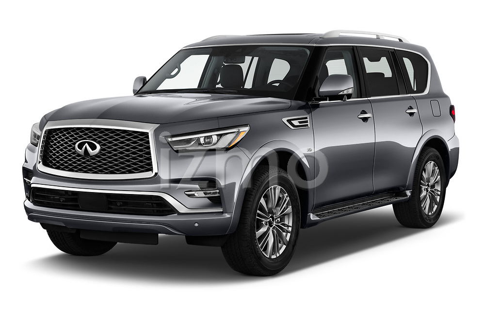 2020 Infiniti QX80 Luxe 5 Door SUV angular front stock photos of front three quarter view