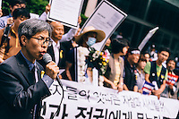 SEOUL - May, 2014 - Human rights lawyer Kwon Young-kook denounces Samsung and Seoul Metropolitan Police Agency, after the body of a Samsung service engieer who had committed suicide was forcefully taken away by police at his funeral.