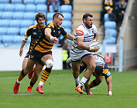 Leicester Tigers' Adam Thompstone is tackled by Wasps' Lima Sopoaga and Josh Bassett (left) <br /> <br /> Photographer Stephen White/CameraSport<br /> <br /> Gallagher Premiership - Wasps v Leicester Tigers - Sunday 16th September 2018 - Ricoh Arena - Coventry<br /> <br /> World Copyright &copy; 2018 CameraSport. All rights reserved. 43 Linden Ave. Countesthorpe. Leicester. England. LE8 5PG - Tel: +44 (0) 116 277 4147 - admin@camerasport.com - www.camerasport.com