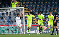 Carl Magnay of Hartlepool United turns to celebrate his goal during the Sky Bet League 2 match between Wycombe Wanderers and Hartlepool United at Adams Park, High Wycombe, England on 5 September 2015. Photo by Andy Rowland.