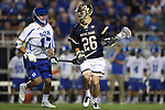 DURHAM, NC - APRIL 28: Notre Dame's Bryan Costabile (26) and Duke's Thomas Zenker (17). The Duke University Blue Devils played the University of Notre Dame Fighting Irish on April 28, 2017, at Koskinen Stadium in Durham, NC in a 2017 ACC Men's Lacrosse Tournament Semifinal match. Notre Dame won the game 7-6.